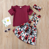 Girls Ruffled Solid Color Short Sleeve Top & Floral Printed Suspender Skirt & Headband Girls Clothes Wholesale