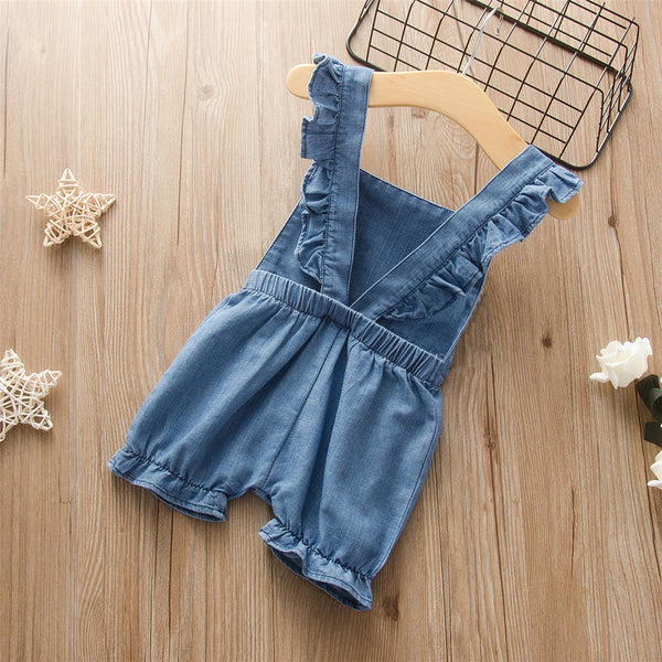 Baby Girls Ruffled Solid Color Sleeveless Jumpsuit Baby Clothes Suppliers