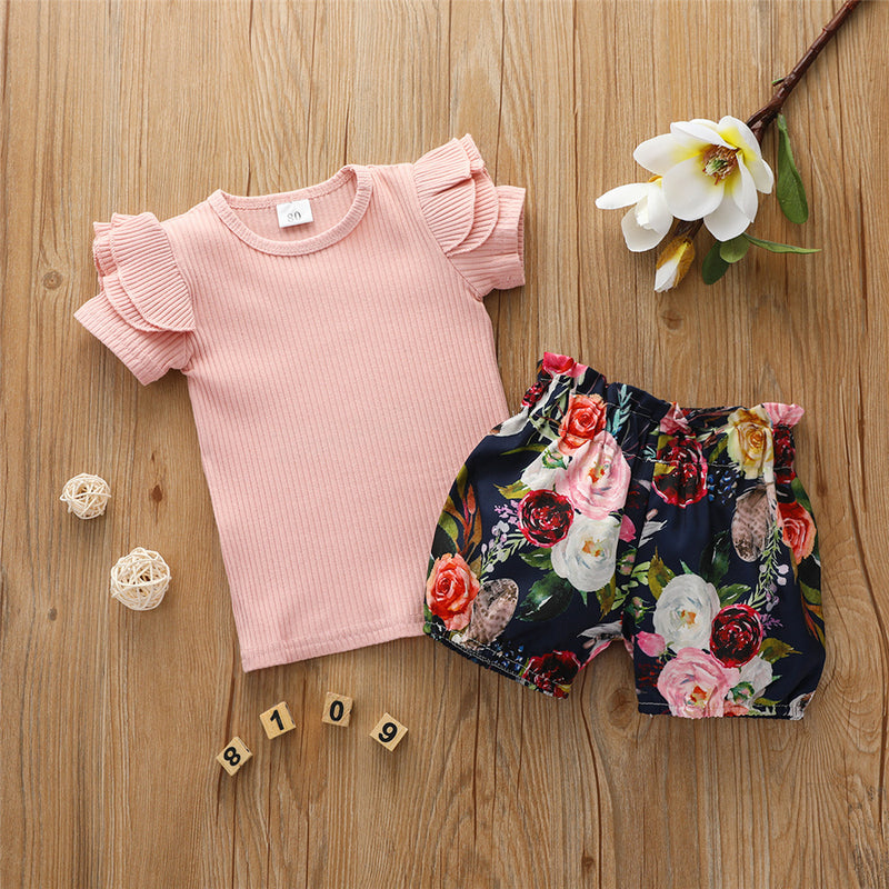 Girls Ruffled Solid Short Sleeve Top & Floral Printed Shorts Wholesale Girl Boutique Clothing