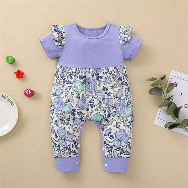 Baby Girls Ruffled Splicing Floral Printed Short Sleeve Romper Buy Baby Clothes Wholesale
