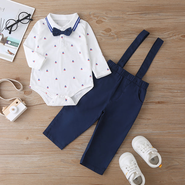 Baby Boys Sailboat Printed Long Sleeve Romper & Overalls wholesale infant clothing