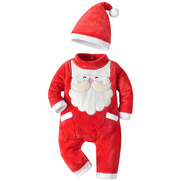 Baby Boys Santa Claus Long Sleeve Romper & Hat Baby Wholesale Clothes