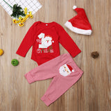 Baby Santa Claus Long Sleeve Romper & Striped Pants & Hat
