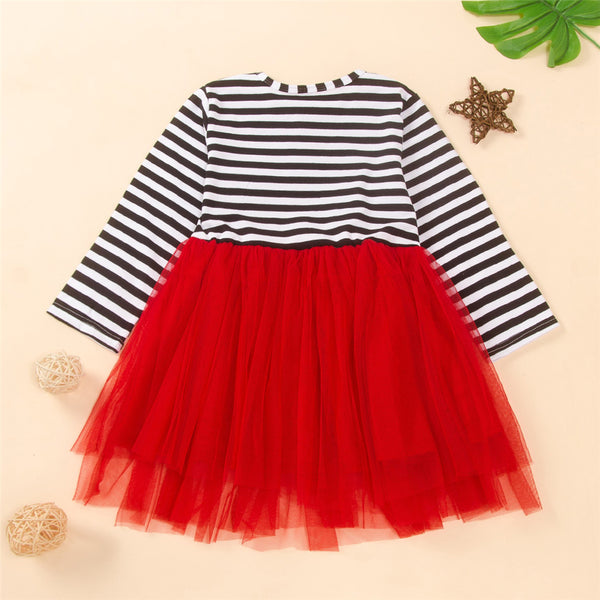 Girls Santa Claus Striped Tulle Dress Wholesale Kids Boutique Clothing