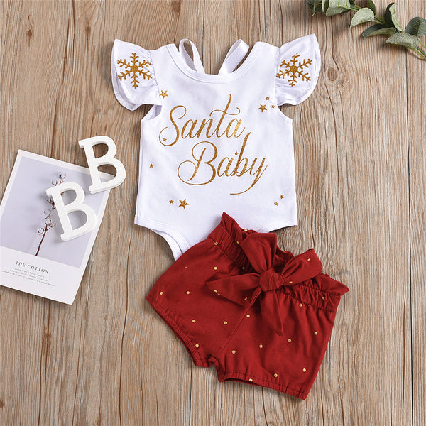 Baby Santa Sleeveless Top & Bow Decor Shorts Christmas Baby Clothes
