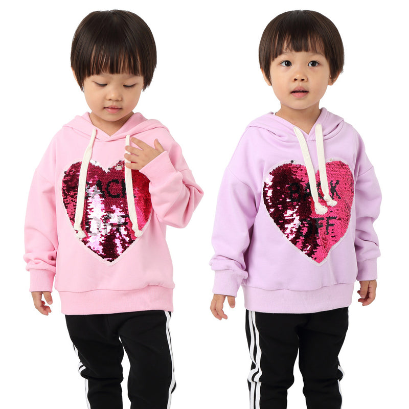 Girls Sequin Letter Printed Long Sleeve Hooded Tops Wholesale