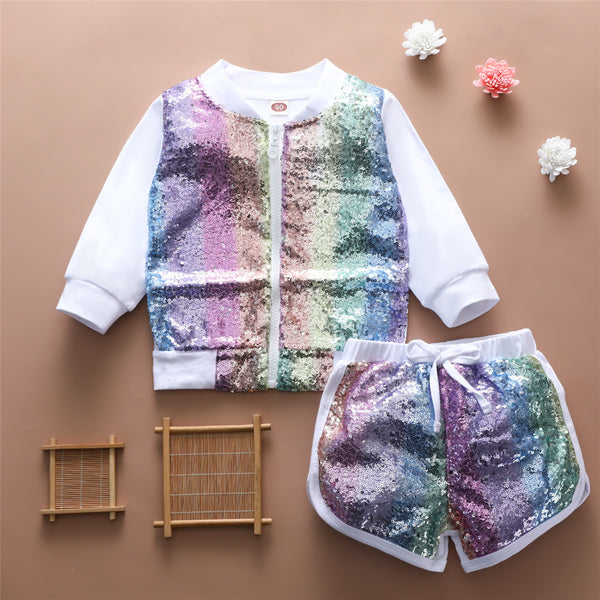 Girls Sequin Long Sleeve Zipper Jacket & Shorts Wholesale Little Girl Clothing