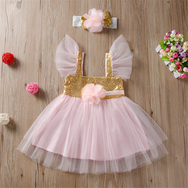 Baby Girls Sequin Sleeveless Flower Mesh Dress & Headband Baby Clothing Cheap Wholesale