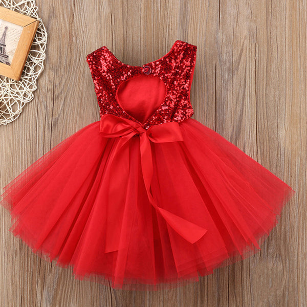 Baby Girls Sequin Sleeveless Mesh Puffy Princess Dress baby clothes wholesale usa
