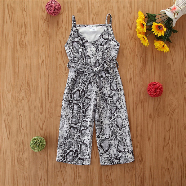 Girls Serpentine Printed Sling Jumpsuit Wholesale Baby Girl Clothes