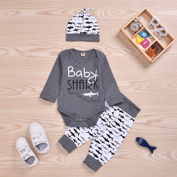 Baby Boys Shark Printed Romper & Bottoms & Hat Cheap Baby Boutique Clothes