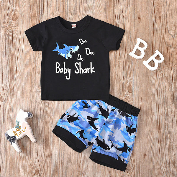 Boys Shark Short Sleeve T-shirt & Shorts Wholesale Toddler Boy Clothes