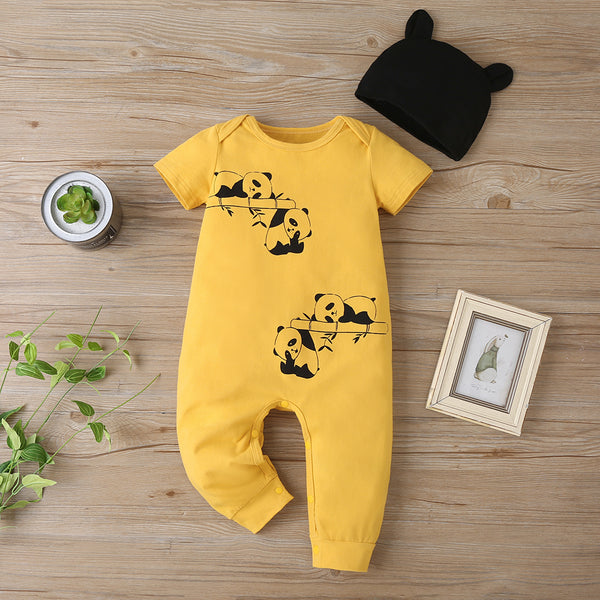 Baby Unisex Short Panda Printed Romper & Hat Baby Clothing Wholesale Distributors