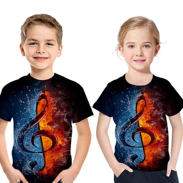 Unisex Short Sleeve 3D Musical Note Printed Top kids clothing vendors