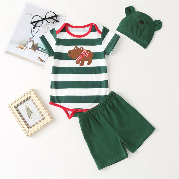 Baby Boys Short Sleeve Bear Printed Striped Romper & Shorts & Hat baby clothes wholesale usa