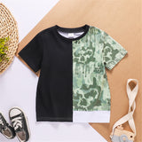 Boys Short Sleeve Black Green Contrast T-shirt boy boutique clothing wholesale