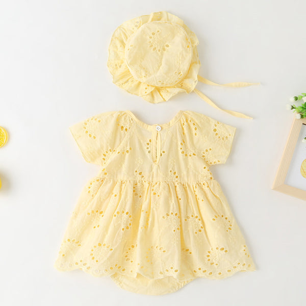 Baby Girls Short Sleeve Bow Decor Hollow Out Romper & Hat baby clothes wholesale usa