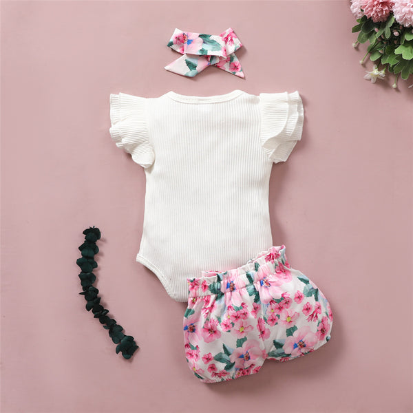 Baby Girls Short Sleeve Bow Decor Romper & Floral Printed Shorts & Headband Wholesale Baby Clothes