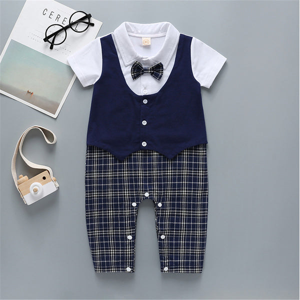 Baby Boys Short Sleeve Bow Plaid Rompers