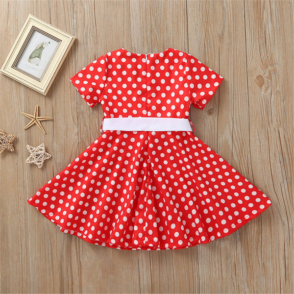Girls Short Sleeve Bow Polka Dot Printed Short Sleeve Dresses kids clothes wholesale