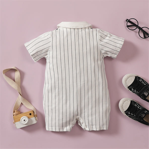 Baby Boys Short Sleeve Bow  Striped Lapel Romper baby boy clothes wholesale