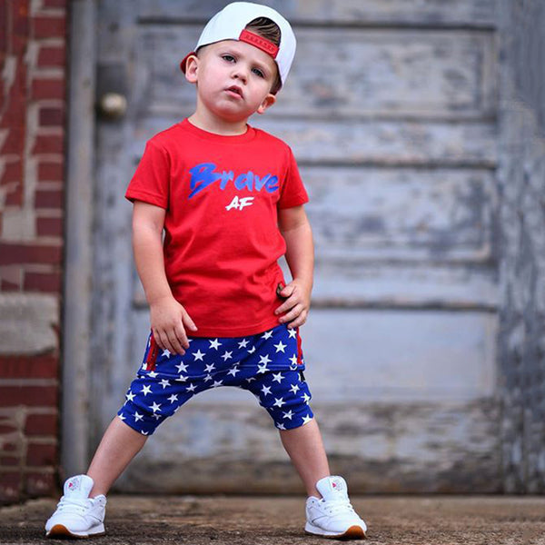 Boys Short Sleeve Brave Printed T-shirt & Star Printed Shorts Boys Summer Outfits