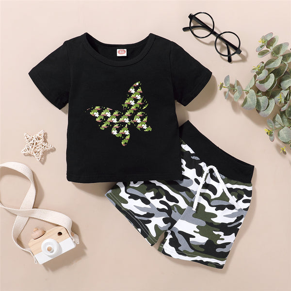 Girls Short Sleeve Butterfly Printed Cartoon T-Shirts & Camo Shorts wholesale childrens clothing