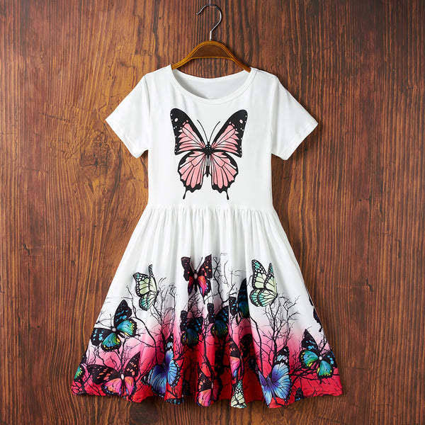 Girls Short Sleeve Butterfly Printed Dress childrens wholesale clothing