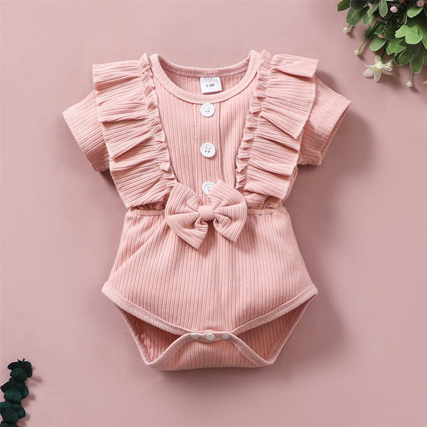 Baby Girls Short Sleeve Button Bow Decor Ruffled Solid Romper Baby Clothes Cheap Wholesale