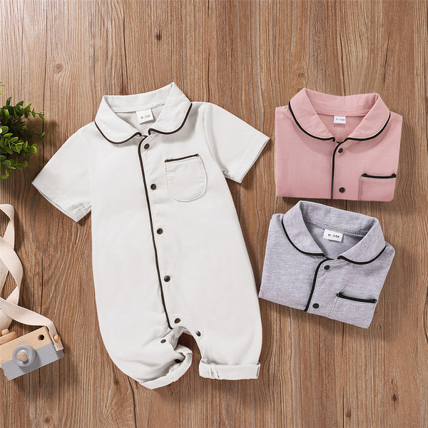 Baby Unisex Short Sleeve Button Romper wholesale baby clothes usa