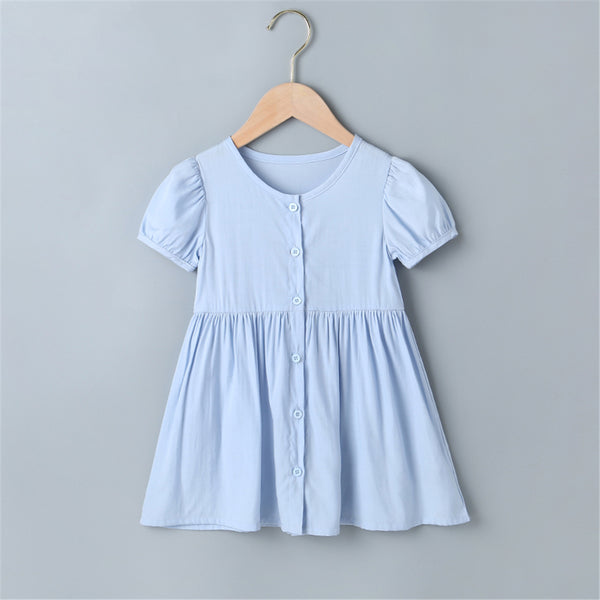 Girls Short Sleeve Button Solid Dress wholesale childrens clothing online