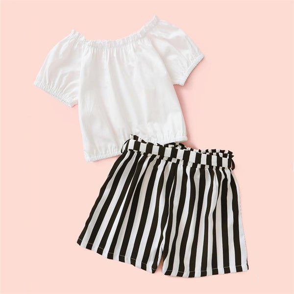 Girls Short Sleeve Button Top & Striped Shorts wholesale kids clothing