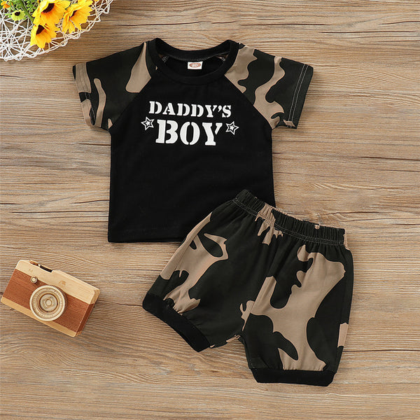 Boys Short Sleeve Camo Daddys Boy Pullover T-shirt & Shorts wholesale children's boutique clothing for resale