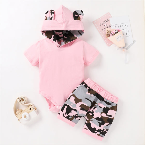 Baby Unisex Short Sleeve Camo Printed Hooded Lovely Romper & Shorts baby clothes wholesale usa