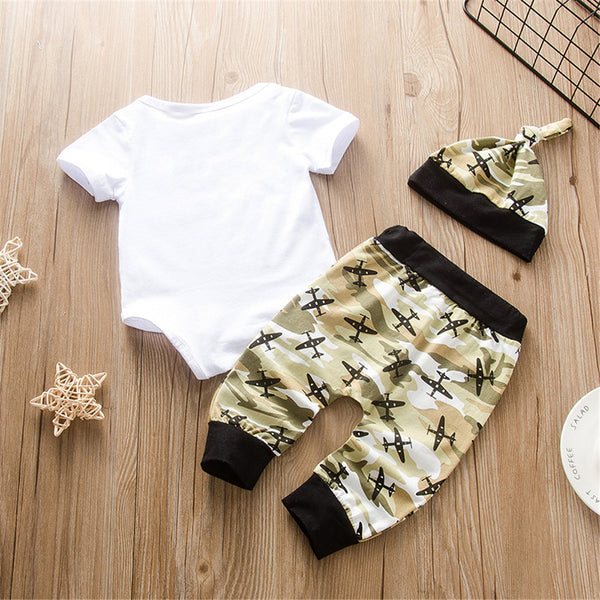 Baby Boys Short Sleeve Camo Printed Romper & Pants & Hat wholesale baby boy clothes