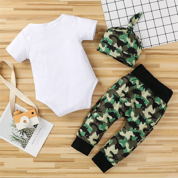 Boys Short Sleeve Camouflage Letter Romper & Pants & Hat baby boy clothes wholesale