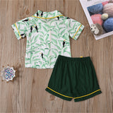 Unisex Short Sleeve Cartoon Animal Leaf Printed Top & Shorts Pajamas Suit Children Clothes Wholesale