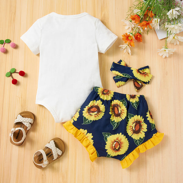 Baby Girls Short Sleeve Cartoon Animal Sunflower Printed Romper & Shorts & Headband baby clothes wholesale