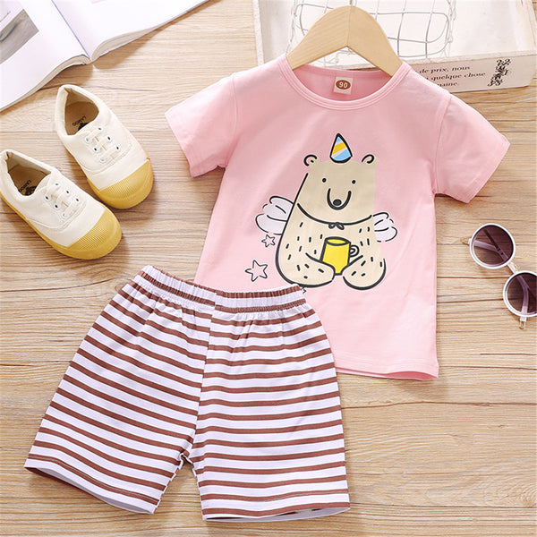 Girls Short Sleeve Cartoon Cartoon Animal Printed T-shirt & Striped Shorts kids clothing wholesale