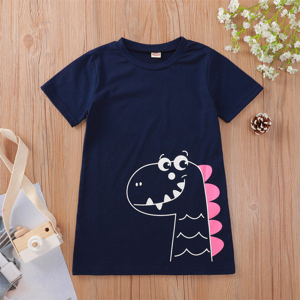 Baby Girls Short Sleeve Cartoon Dinosaur Printed T-shirt Wholesale Baby Clothes