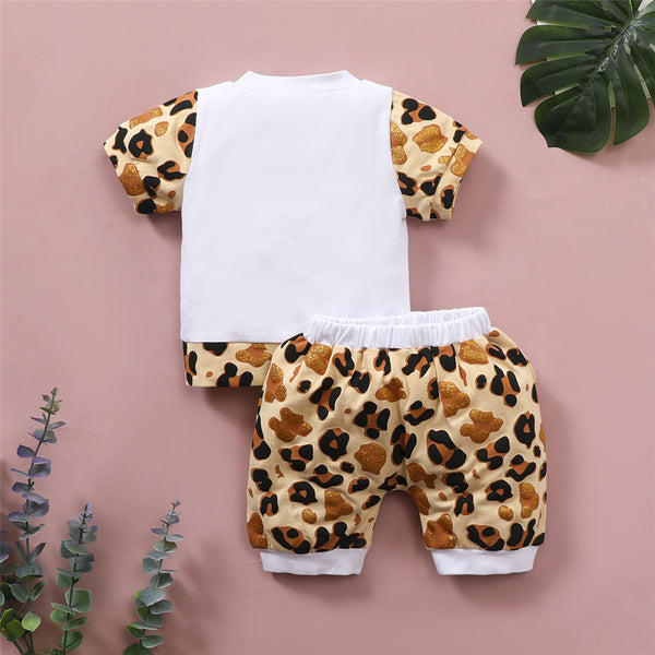 Baby Girls Short Sleeve Cartoon Leopard Printed T-shirt & Shorts Wholesale Baby Clothes