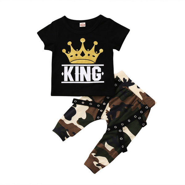 Boys Short Sleeve Cartoon Letter Printed Top & Camo Pants Boy Clothing Wholesale