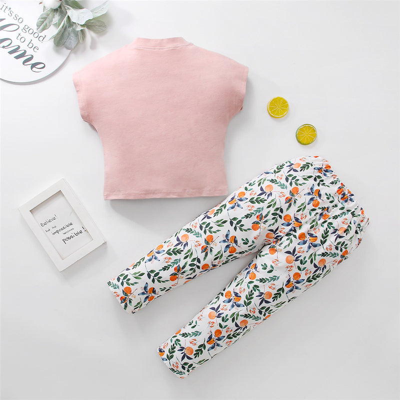 Girls Short Sleeve Cartoon Letter Printed Top & Pants Girl Boutique Clothing Wholesale