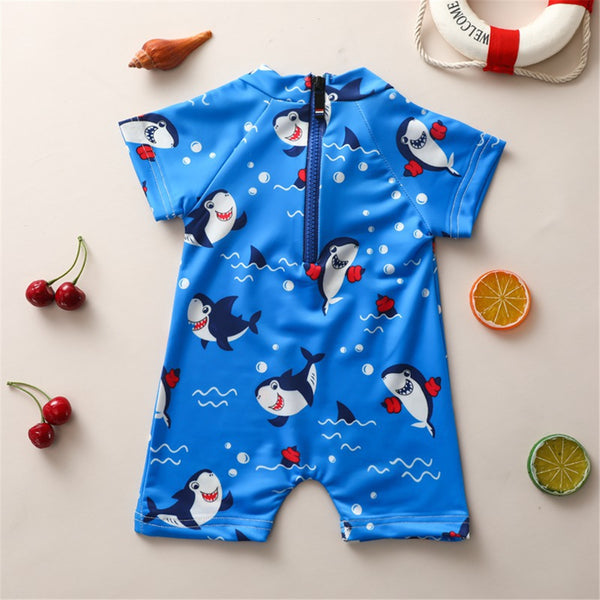 Baby Boys Short Sleeve Cartoon Ocean Shark Printed Blue Swimwear One Piece Swimwear Wholesale