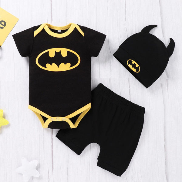 Baby Boys Short Sleeve Cartoon Printed Romper & Shorts & Hat wholesale baby clothes