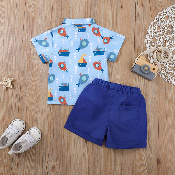 Boys Short Sleeve Cartoon Sailboat Printed Button Shirts & Solid Shorts wholesale childrens clothing online