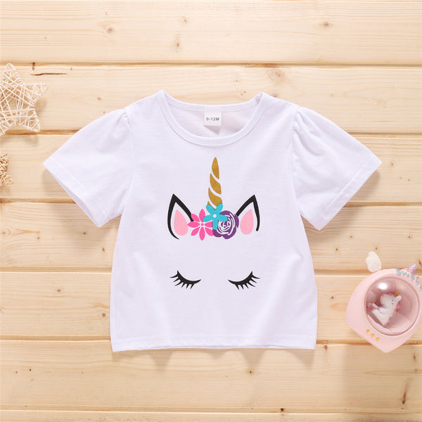 Baby Girls Short Sleeve Cartoon Unicorn Printed T-shirt Cheap Boutique Baby Clothing