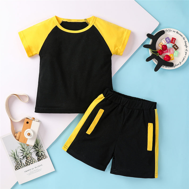 Boys Short Sleeve Casual Color Contrast T-shirt & Shorts Little Boys Wholesale Clothing