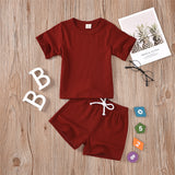 Baby Unisex Short Sleeve Casual Solid Color Top & Short cheap baby clothes wholesale