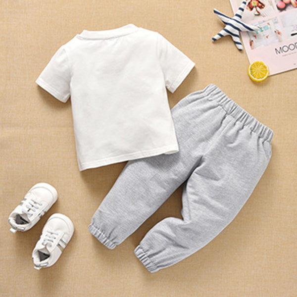 Baby Unisex Short Sleeve Casual Solid Top & Pants baby clothing wholesale